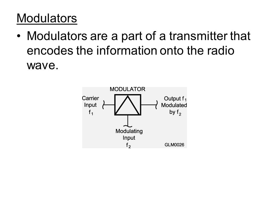 Modulators Modulators are a part of a transmitter that encodes the information onto the radio wave.