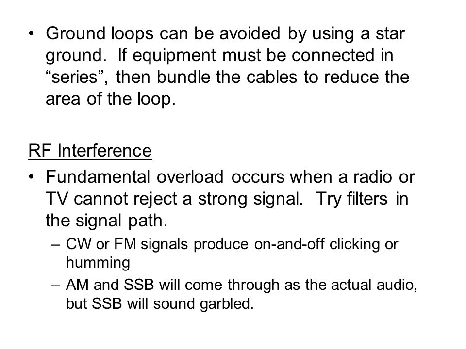 Ground loops can be avoided by using a star ground.