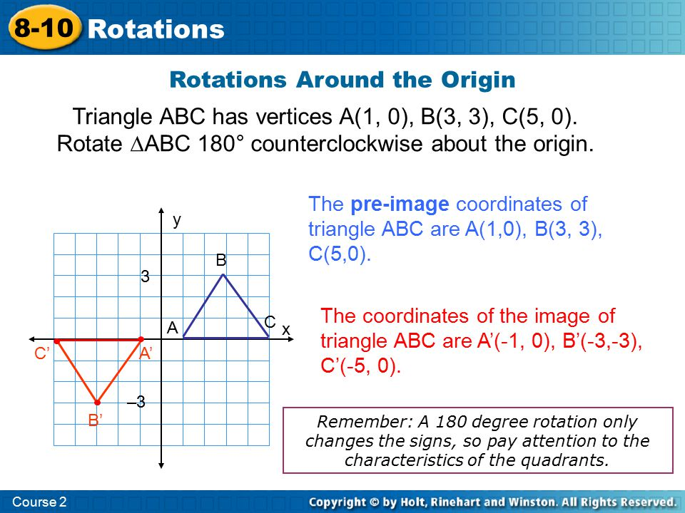 Triangle ABC has vertices A(1, 0), B(3, 3), C(5, 0). Rotate ∆ABC 180° counterclockwise about the origin. Rotations Around the Origin Course 2 8-10 Rot