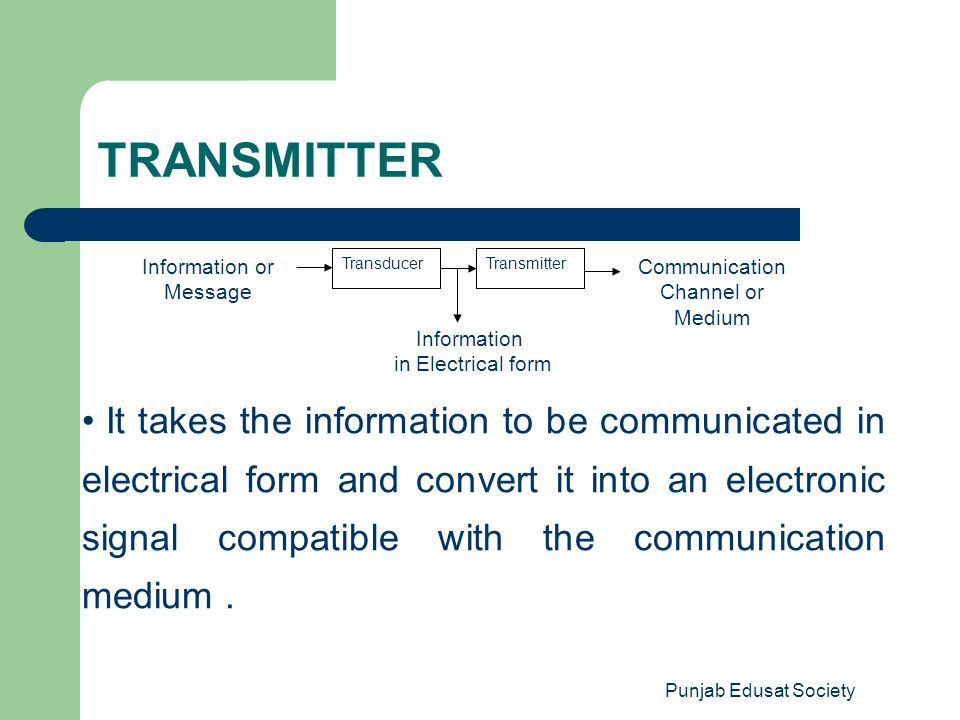 Punjab Edusat Society Information or Message TransducerTransmitter Communication Channel or Medium Information in Electrical form It takes the informa