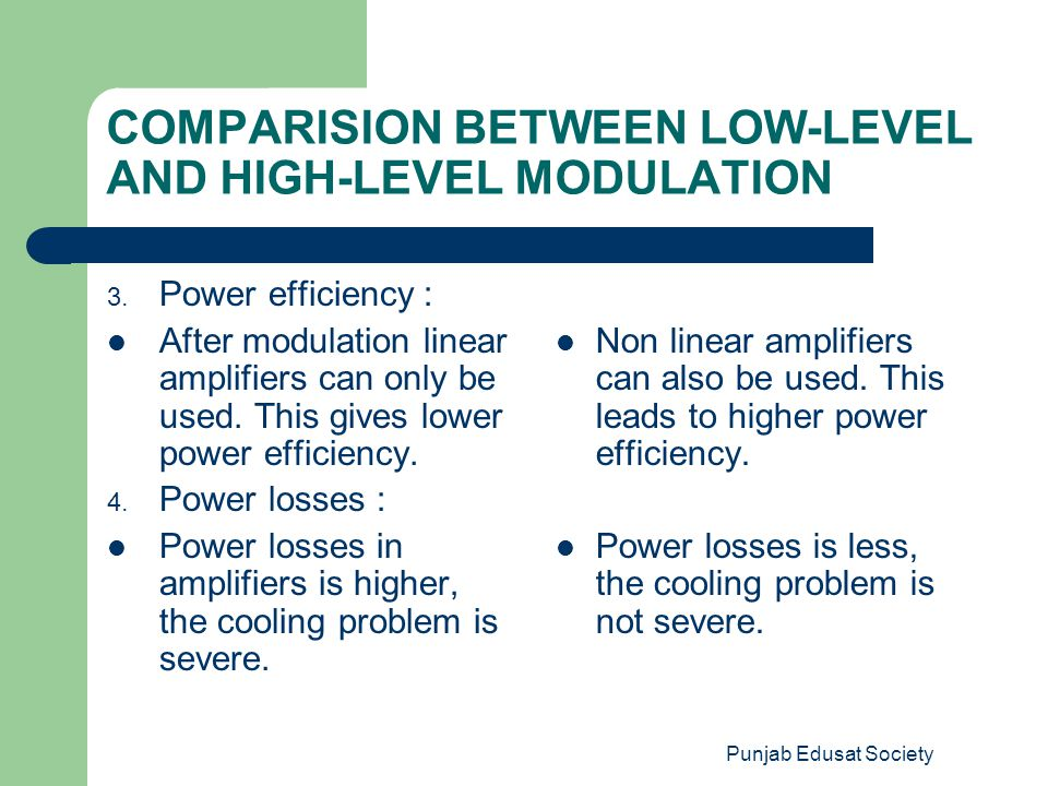 Punjab Edusat Society COMPARISION BETWEEN LOW-LEVEL AND HIGH-LEVEL MODULATION 3. Power efficiency : After modulation linear amplifiers can only be use