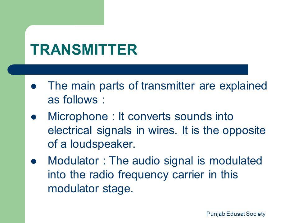 Punjab Edusat Society CLASSIFICATION BASED ON TYPES OF MODULATION CW Transmitters AM Transmitters FM Transmitters SSB Transmitters