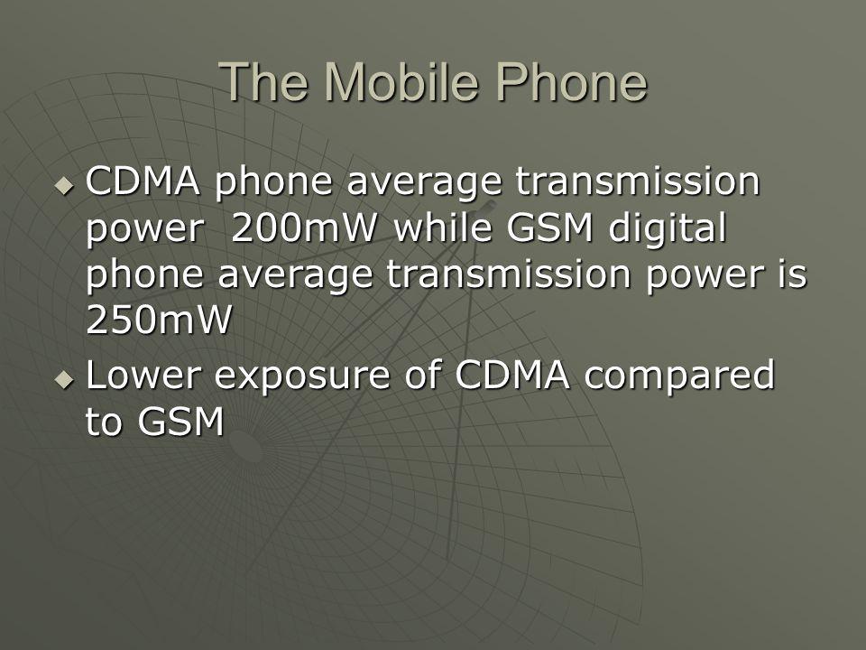 The Mobile Phone  CDMA phone average transmission power 200mW while GSM digital phone average transmission power is 250mW  Lower exposure of CDMA co