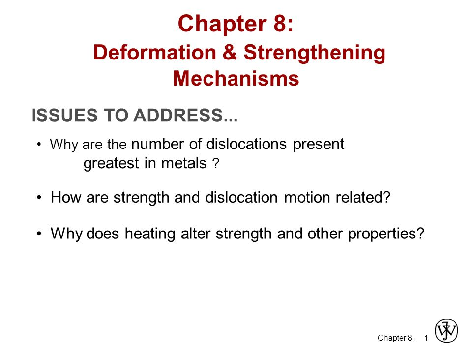 Chapter 8 - 2 Dislocations & Materials Classes Covalent Ceramics (Si, diamond): Motion difficult - directional (angular) bonding Ionic Ceramics (NaCl): Motion difficult - need to avoid nearest neighbors of like sign (- and +) ++++ +++ ++++ --- ---- --- Metals (Cu, Al): Dislocation motion easiest - non-directional bonding - close-packed directions for slip electron cloud ion cores + + + + +++++++ + +++++ +++++ + +