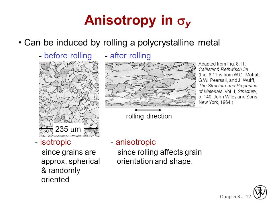Chapter 8 - 12 Can be induced by rolling a polycrystalline metal - before rolling 235  m - isotropic since grains are approx. spherical & randomly or