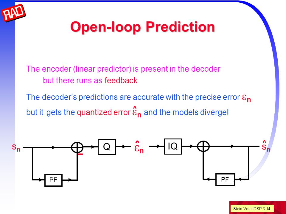 Stein VoiceDSP 3.14 Open-loop Prediction The encoder (linear predictor) is present in the decoder but there runs as feedback The decoder's predictions are accurate with the precise error  n but it gets the quantized error  n and the models diverge.