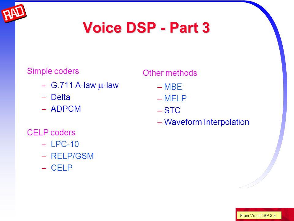 Stein VoiceDSP 3.24 Voice DSP CELP coders