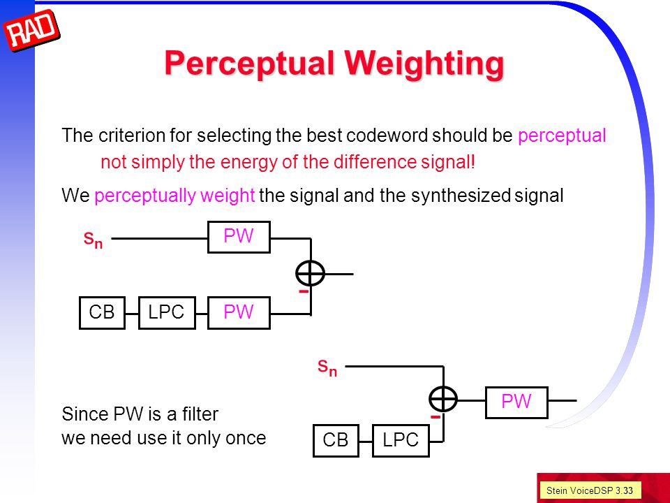 Stein VoiceDSP 3.33 Perceptual Weighting The criterion for selecting the best codeword should be perceptual not simply the energy of the difference signal.