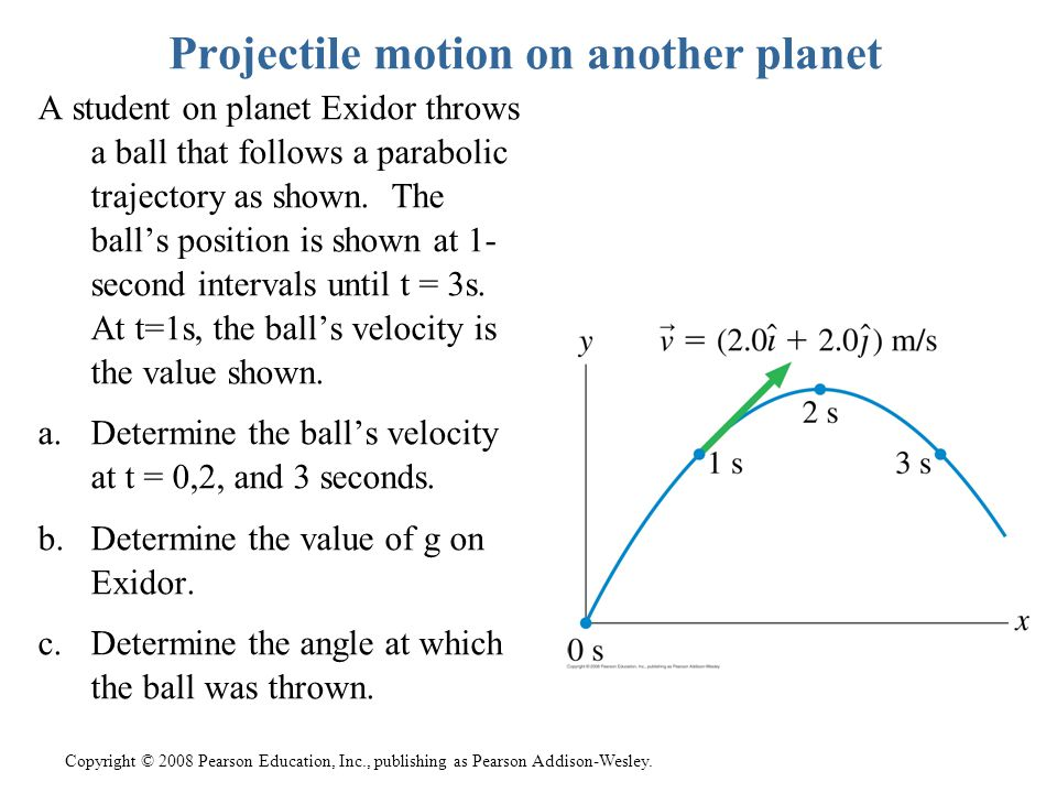 Projectile motion on another planet A student on planet Exidor throws a ball that follows a parabolic trajectory as shown. The ball's position is show