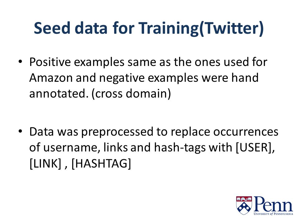 Seed data for Training(Twitter) Positive examples same as the ones used for Amazon and negative examples were hand annotated.