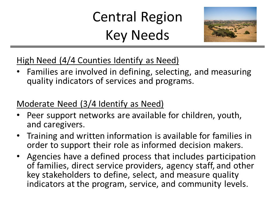 Central Region Key Needs High Need (4/4 Counties Identify as Need) Families are involved in defining, selecting, and measuring quality indicators of services and programs.