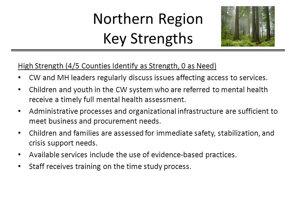 Northern Region Key Strengths High Strength (4/5 Counties Identify as Strength, 0 as Need) CW and MH leaders regularly discuss issues affecting access to services.