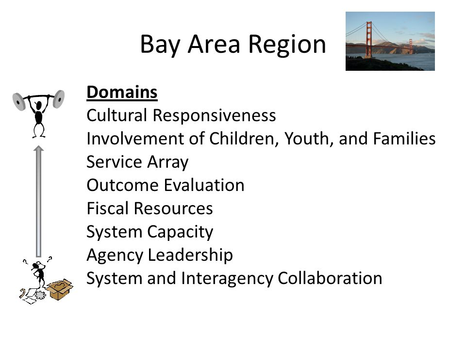 Bay Area Region Domains Cultural Responsiveness Involvement of Children, Youth, and Families Service Array Outcome Evaluation Fiscal Resources System Capacity Agency Leadership System and Interagency Collaboration