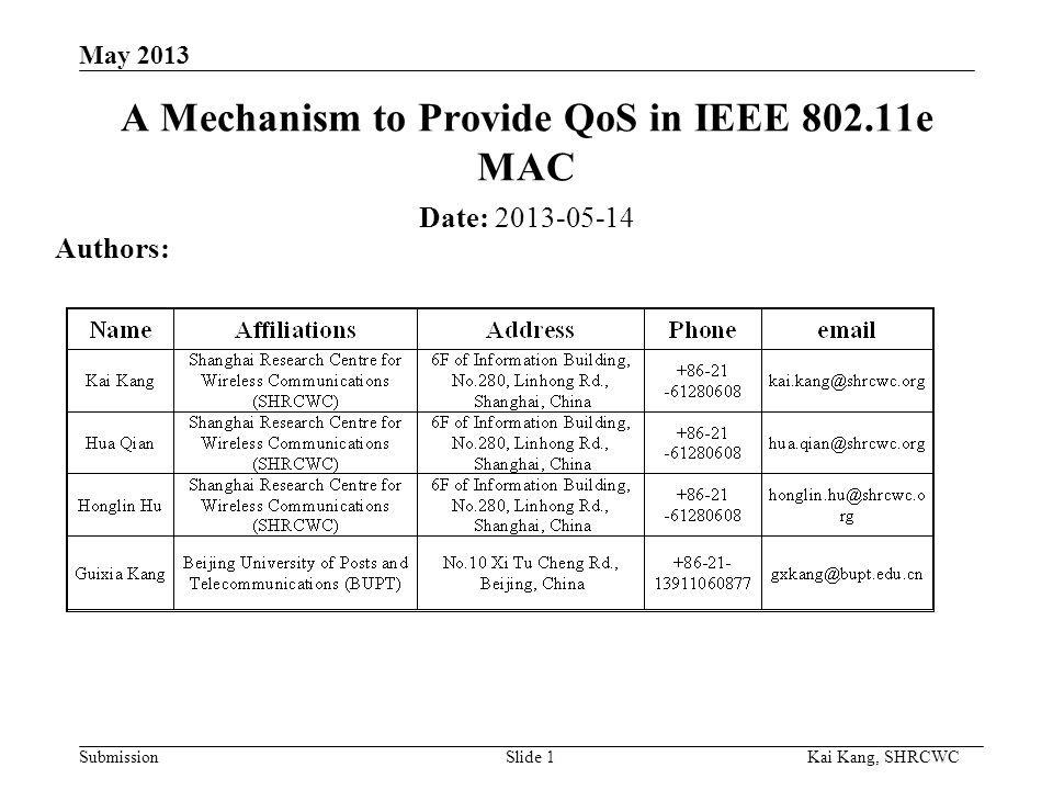 Submission Kai Kang, SHRCWC May 2013 A Mechanism to Provide QoS in IEEE 802.11e MAC Date: 2013-05-14 Authors: Slide 1