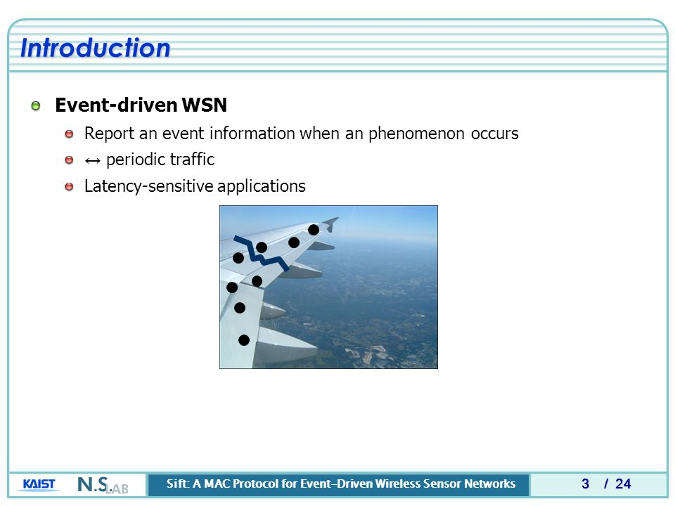 Sift: A MAC Protocol for Event-Driven Wireless Sensor Networks / 24 Event-driven WSN Report an event information when an phenomenon occurs ↔ periodic traffic Latency-sensitive applications 3 Introduction