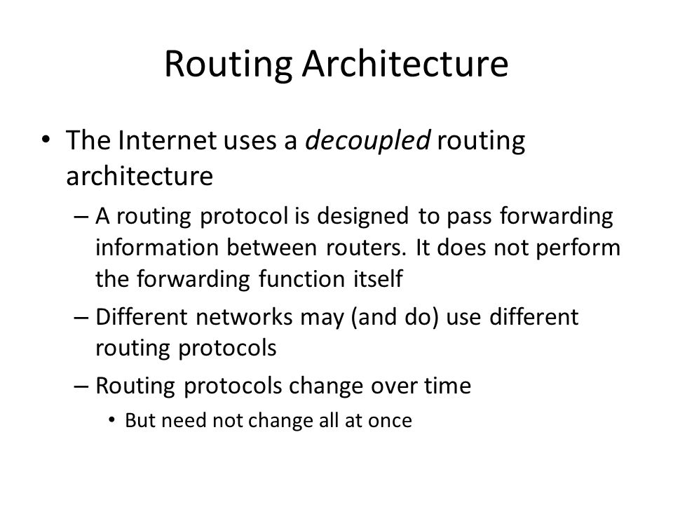 Routing Protocols Routing protocols are self discovery distributed protocols – Two flavours of algorithm: Distance vector (rumours) – I tell you everything I know – You tell me everything you know – Repeat until nothing more to day.