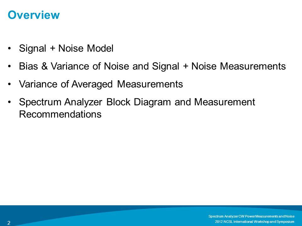 Signal + Noise Model 2012 NCSL International Workshop and Symposium Spectrum Analyzer CW Power Measurements and Noise 3
