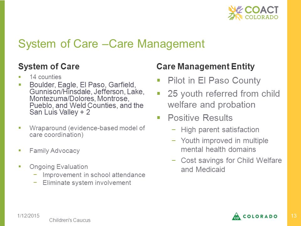 System of Care –Care Management System of CareCare Management Entity Children s Caucus 13  14 counties  Boulder, Eagle, El Paso, Garfield, Gunnison/Hinsdale, Jefferson, Lake, Montezuma/Dolores, Montrose, Pueblo, and Weld Counties, and the San Luis Valley + 2  Wraparound (evidence-based model of care coordination)  Family Advocacy  Ongoing Evaluation −Improvement in school attendance −Eliminate system involvement  Pilot in El Paso County  25 youth referred from child welfare and probation  Positive Results −High parent satisfaction −Youth improved in multiple mental health domains −Cost savings for Child Welfare and Medicaid 1/12/2015