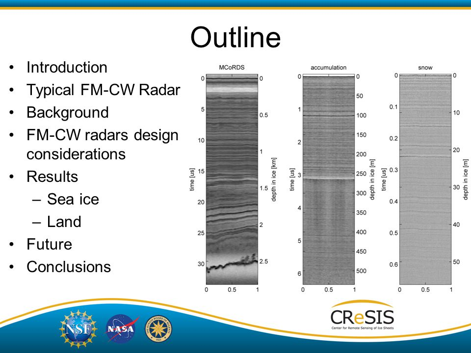 Outline Introduction Typical FM-CW Radar Background FM-CW radars design considerations Results –Sea ice –Land Future Conclusions