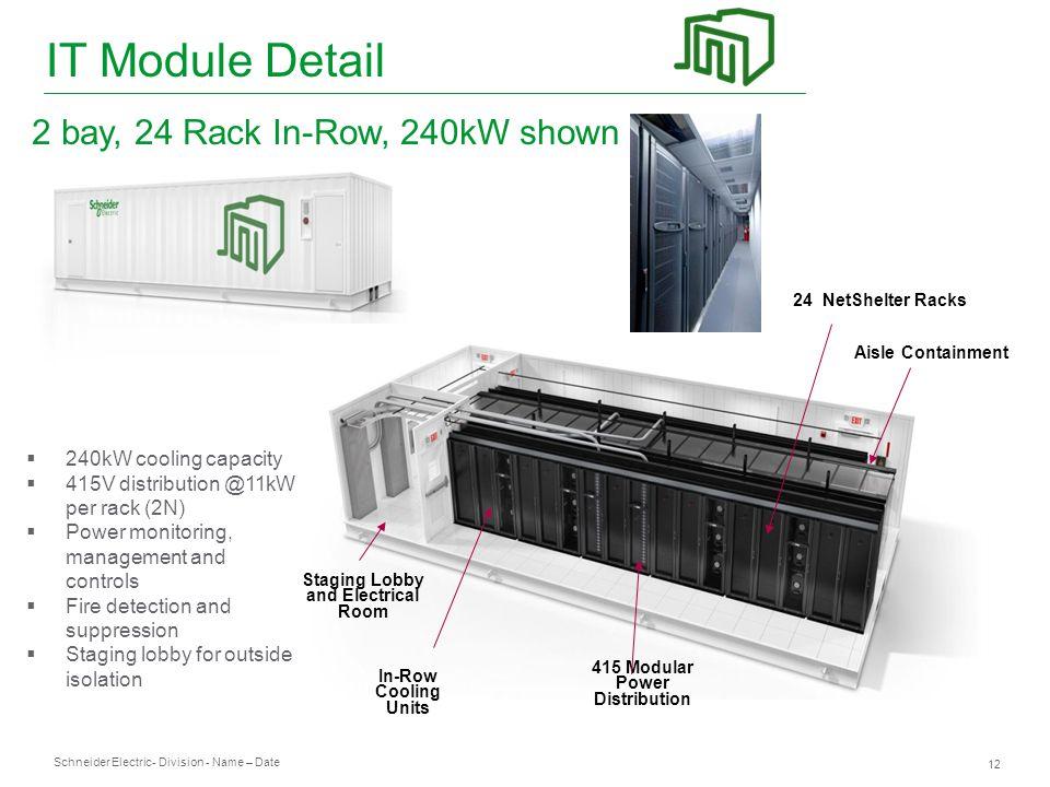 Schneider Electric 12 - Division - Name – Date 24 NetShelter Racks  240kW cooling capacity  415V distribution @11kW per rack (2N)  Power monitoring