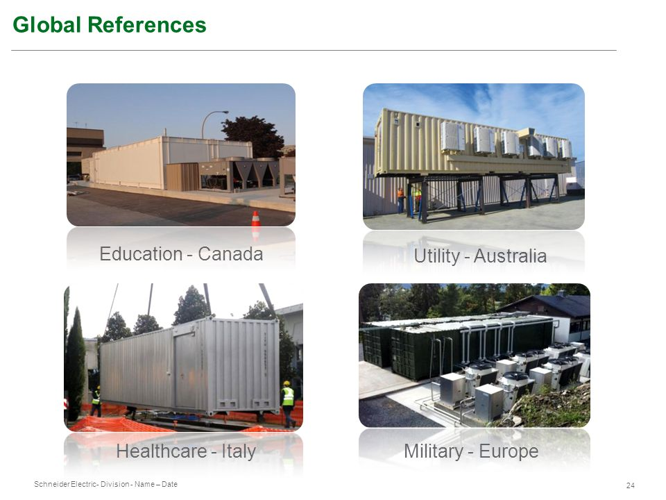 Schneider Electric 24 - Division - Name – Date Utility - Australia Healthcare - ItalyMilitary - Europe Education - Canada Global References