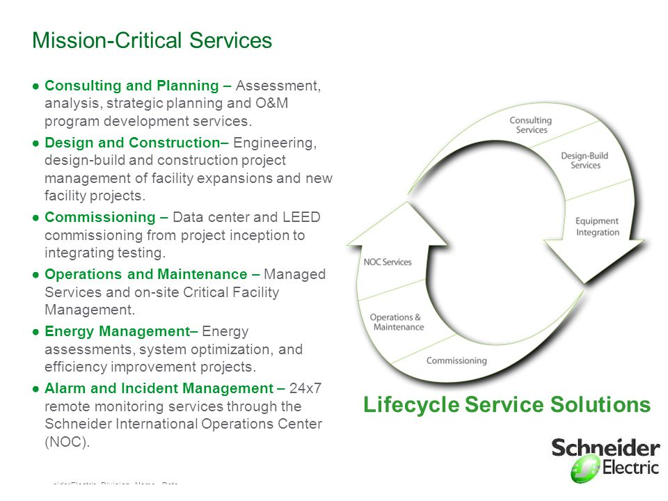 Schneider Electric 26 - Division - Name – Date Mission-Critical Services ●Consulting and Planning – Assessment, analysis, strategic planning and O&M p