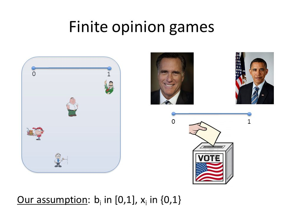 Finite opinion games 0 1 0 1 Our assumption: b i in [0,1], x i in {0,1}