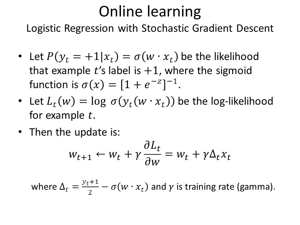 Online learning Logistic Regression with Stochastic Gradient Descent