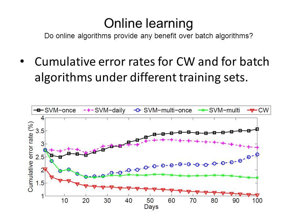 Online learning Do online algorithms provide any benefit over batch algorithms.
