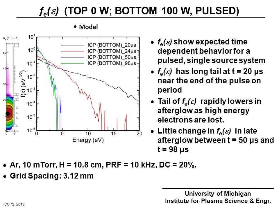 f e (  ) (TOP 0 W; BOTTOM 100 W, PULSED)  Ar, 10 mTorr, H = 10.8 cm, PRF = 10 kHz, DC = 20%.