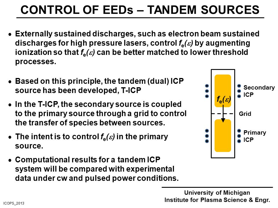 CONTROL OF EEDs – TANDEM SOURCES  Externally sustained discharges, such as electron beam sustained discharges for high pressure lasers, control f e (  ) by augmenting ionization so that f e (  ) can be better matched to lower threshold processes.