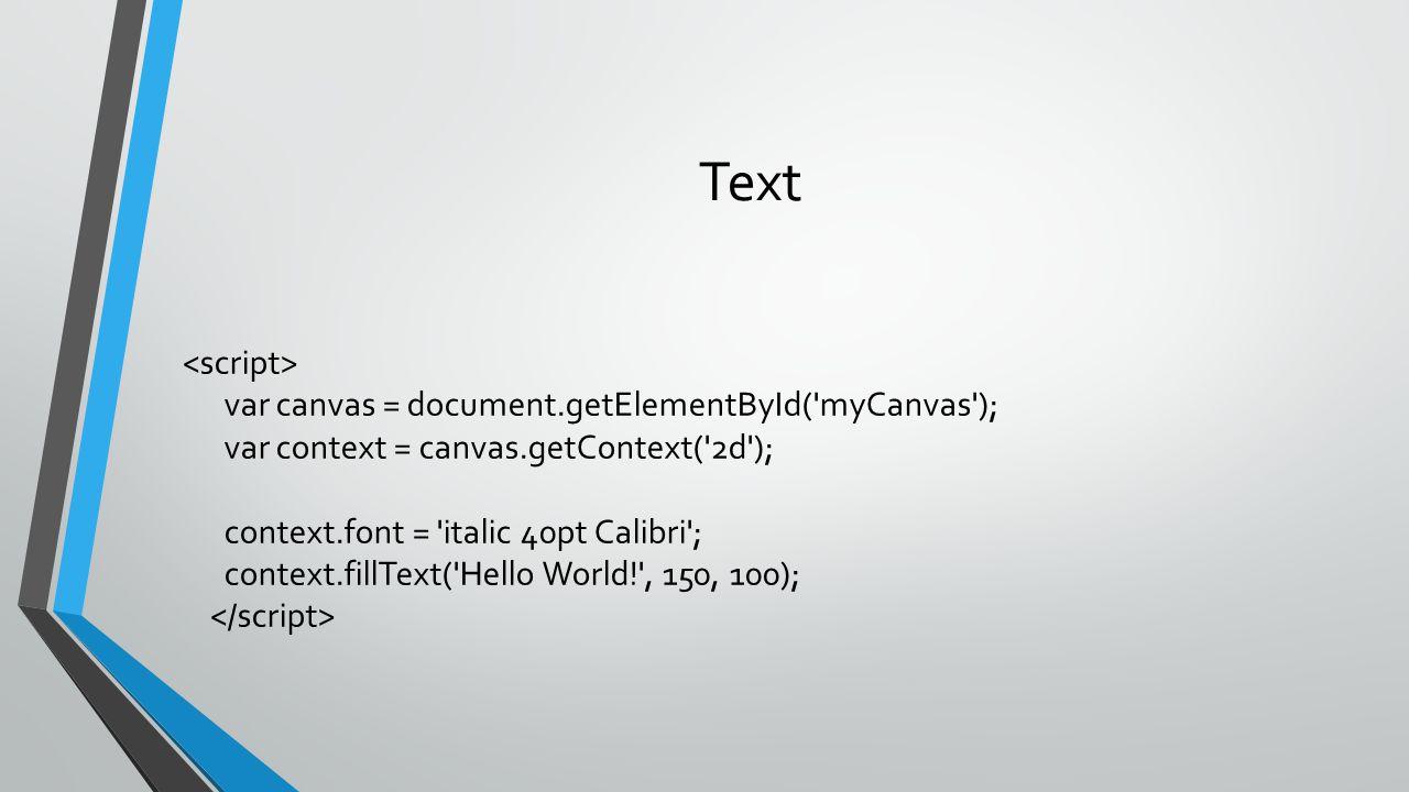 Text var canvas = document.getElementById('myCanvas'); var context = canvas.getContext('2d'); context.font = 'italic 40pt Calibri'; context.fillText('