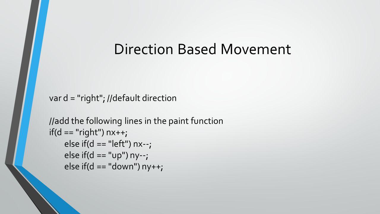Direction Based Movement var d =
