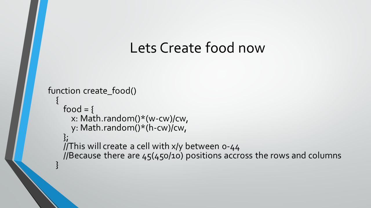 Lets Create food now function create_food() { food = { x: Math.random()*(w-cw)/cw, y: Math.random()*(h-cw)/cw, }; //This will create a cell with x/y b