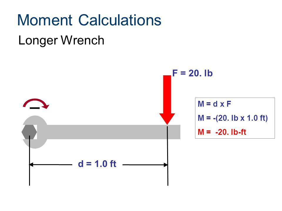 Moment Calculations Longer Wrench F = 20. lb d = 1.0 ft M = d x F M = -(20. lb x 1.0 ft) M = -20. lb-ft ¯