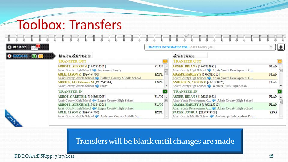 KDE:OAA:DSR:pp: 7/27/201218 Transfers will be blank until changes are made Toolbox: Transfers