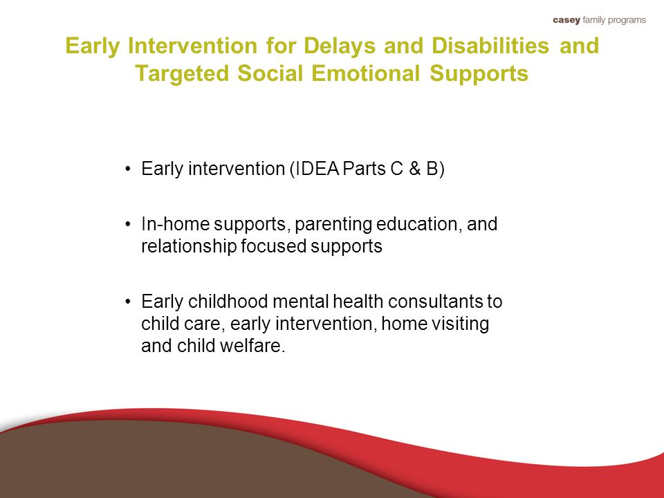 Early Intervention for Delays and Disabilities and Targeted Social Emotional Supports Early intervention (IDEA Parts C & B) In-home supports, parenting education, and relationship focused supports Early childhood mental health consultants to child care, early intervention, home visiting and child welfare.