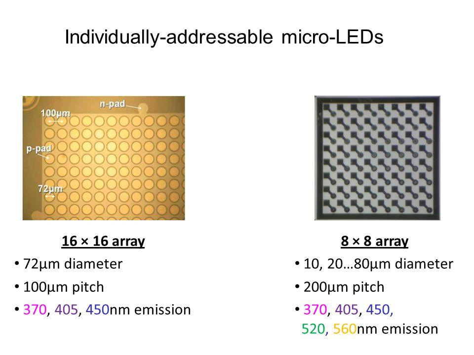 16 × 16 array 72µm diameter 100µm pitch 370, 405, 450nm emission 8 × 8 array 10, 20…80µm diameter 200µm pitch 370, 405, 450, 520, 560nm emission Indiv