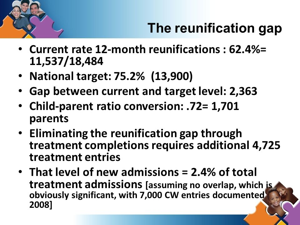 Current rate 12-month reunifications : 62.4%= 11,537/18,484 National target: 75.2% (13,900) Gap between current and target level: 2,363 Child-parent ratio conversion:.72= 1,701 parents Eliminating the reunification gap through treatment completions requires additional 4,725 treatment entries That level of new admissions = 2.4% of total treatment admissions [assuming no overlap, which is obviously significant, with 7,000 CW entries documented 2008] The reunification gap