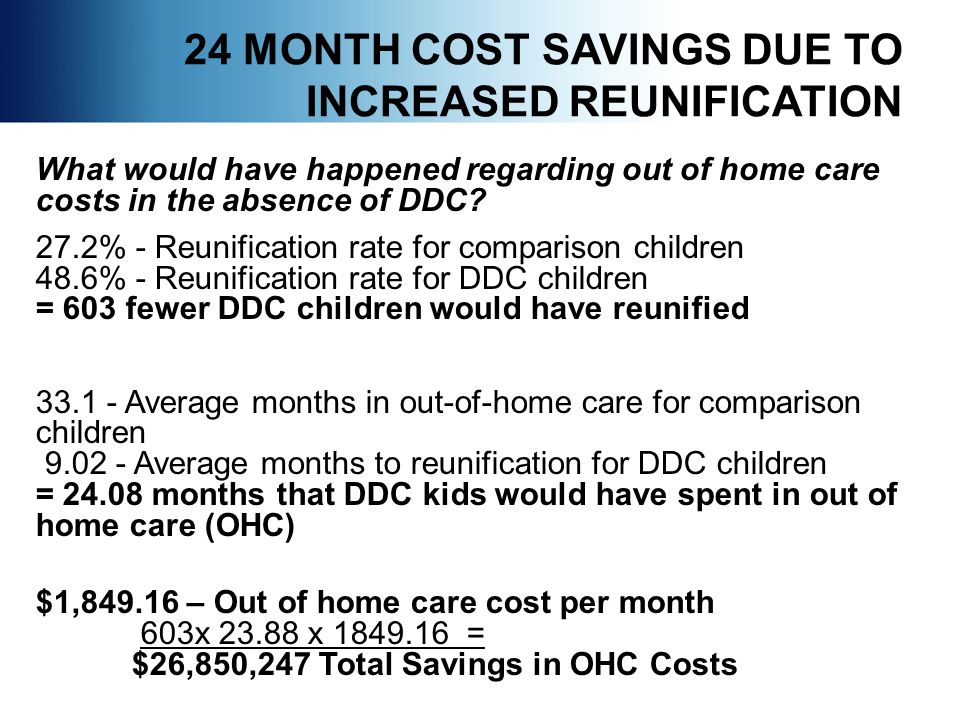 24 MONTH COST SAVINGS DUE TO INCREASED REUNIFICATION What would have happened regarding out of home care costs in the absence of DDC.