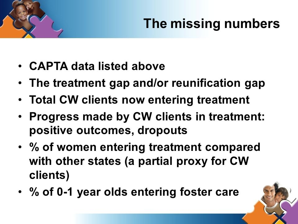 The missing numbers CAPTA data listed above The treatment gap and/or reunification gap Total CW clients now entering treatment Progress made by CW clients in treatment: positive outcomes, dropouts % of women entering treatment compared with other states (a partial proxy for CW clients) % of 0-1 year olds entering foster care