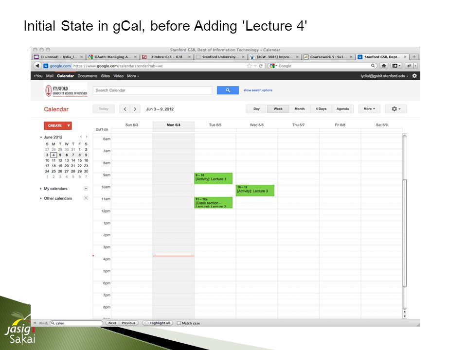 Initial State in gCal, before Adding Lecture 4