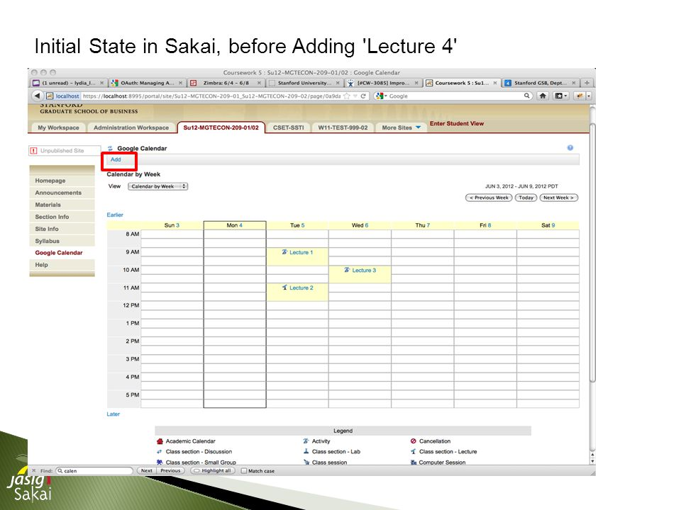 Initial State in Sakai, before Adding Lecture 4