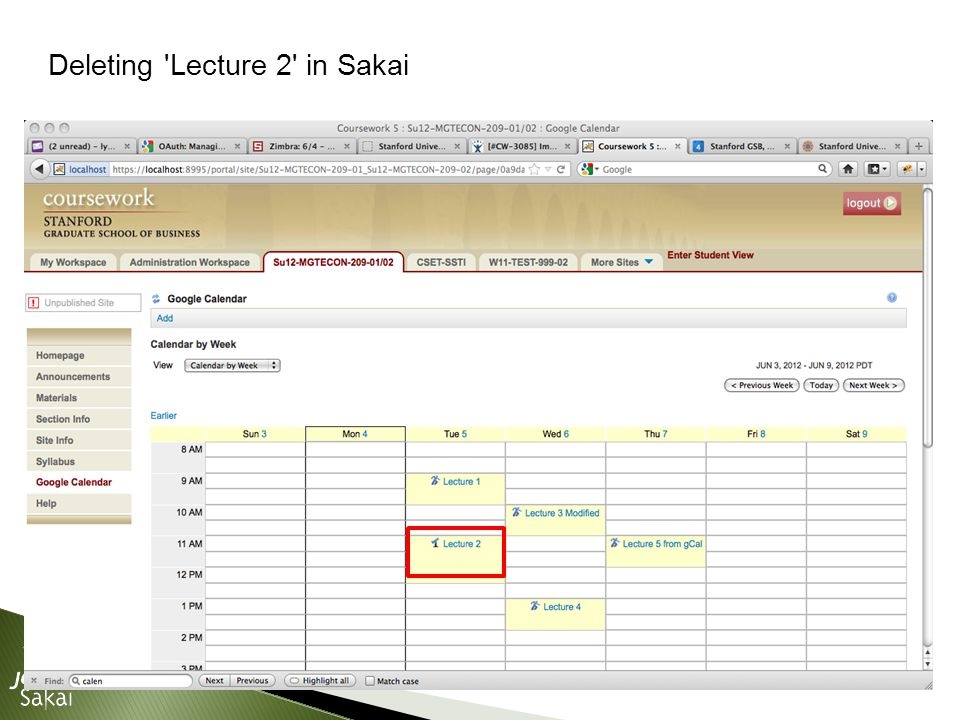 Deleting Lecture 2 in Sakai