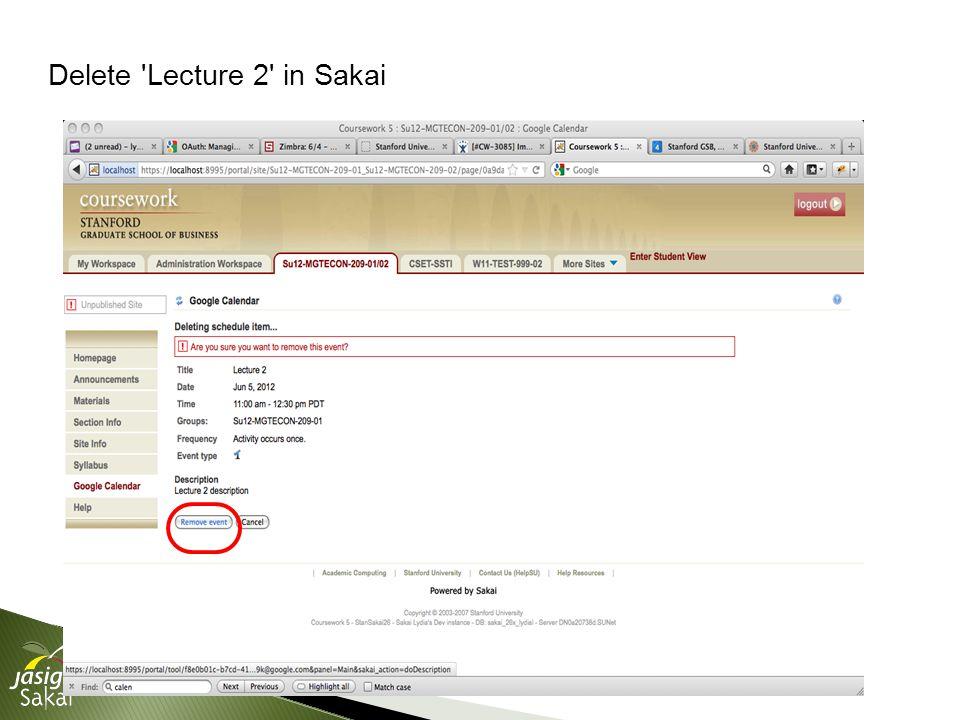 Delete Lecture 2 in Sakai