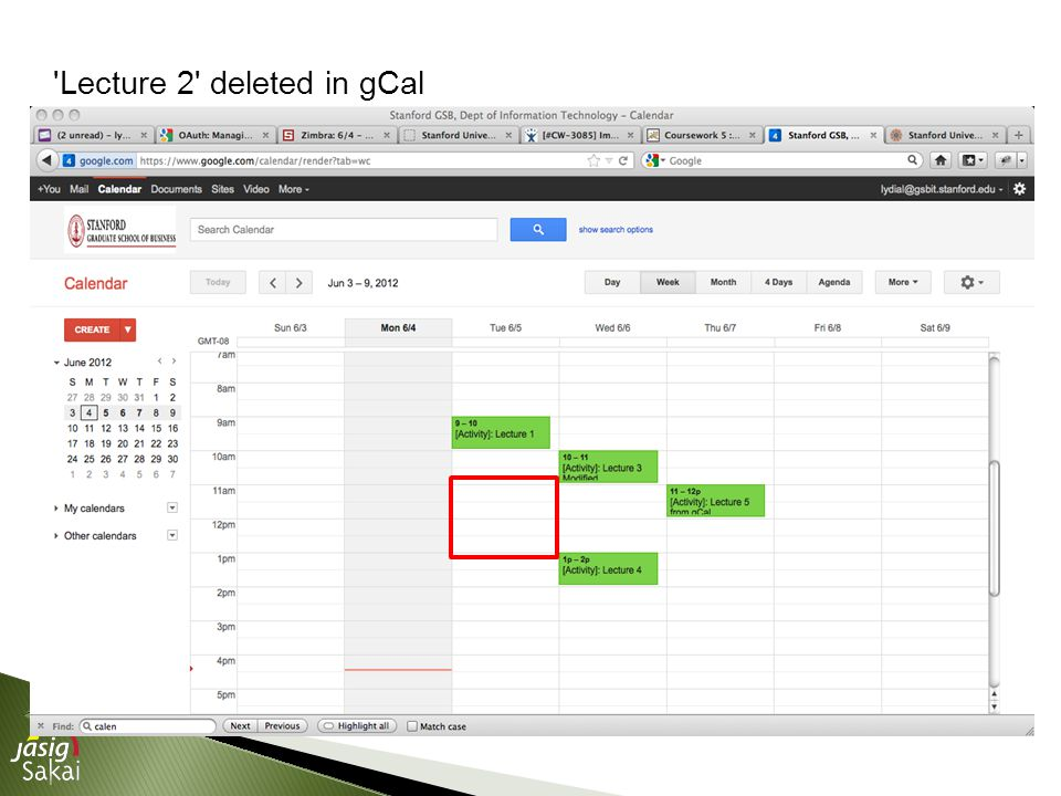Lecture 2 deleted in gCal