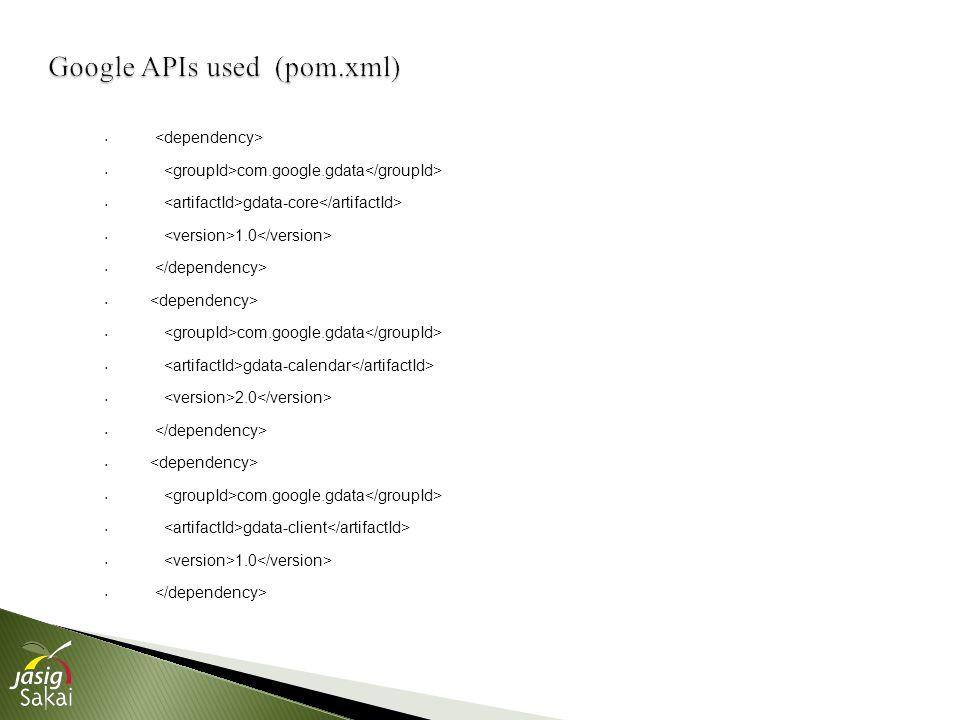 com.google.gdata gdata-core 1.0 com.google.gdata gdata-calendar 2.0 com.google.gdata gdata-client 1.0