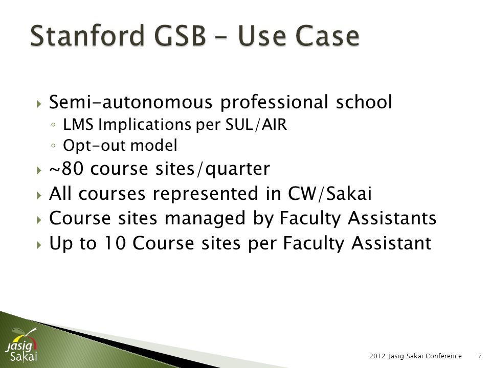  Students #1 Complaint: ◦ Too many information sources/locations ◦ Strong preference for single point of contact ◦ CW/Sakai accepted as the appropriate vehicle  Minimal use of Schedule Tool ◦ Labor intensive, redundant manual process ◦ Insufficient time pre-term for FAs 2012 Jasig Sakai Conference8