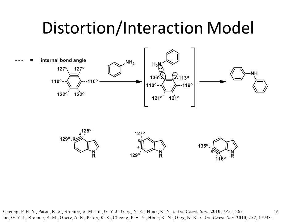 Distortion/Interaction Model Cheong, P. H. Y.; Paton, R. S.; Bronner, S. M.; Im, G. Y. J.; Garg, N. K.; Houk, K. N. J. Am. Chem. Soc. 2010, 132, 1267.