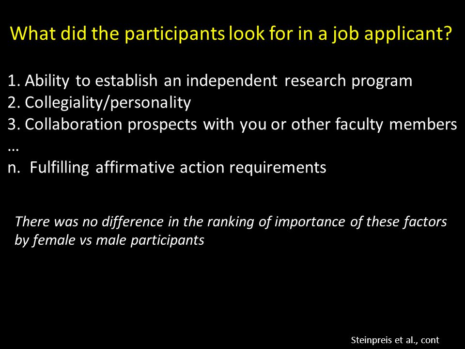 What did the participants look for in a job applicant.